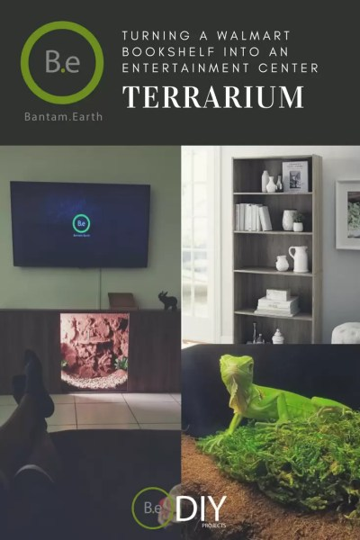 turning walmart bookshelf into terrarium entertainment center