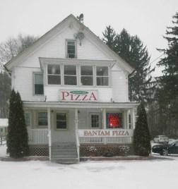 Bantam Pizza snow covered...