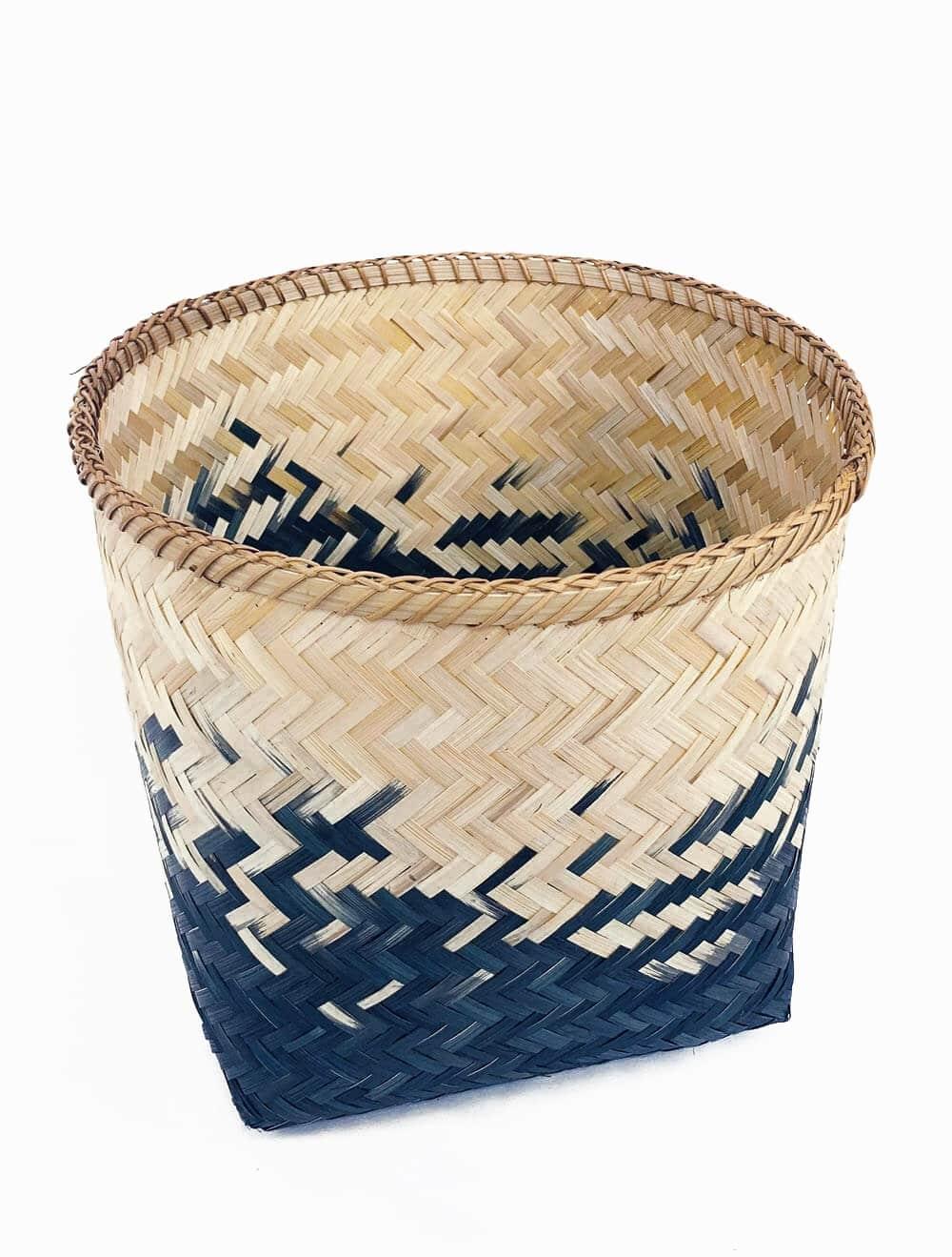 nam dinh panier de rangement tresse bi teinte bambou et bleu