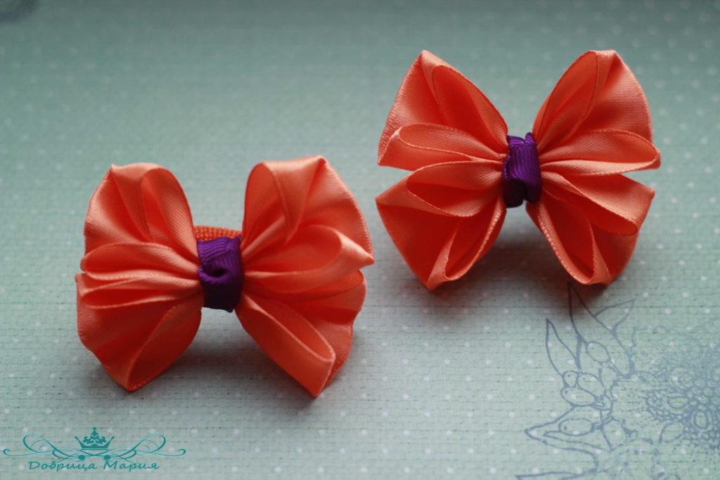 Bow ng malawak na satin ribbon 11.