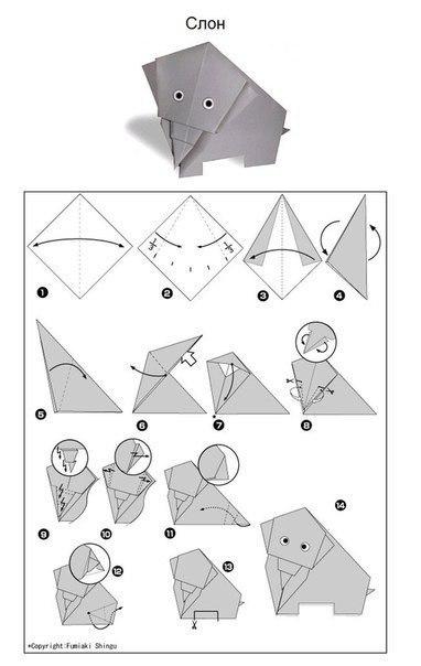Origami elefánt