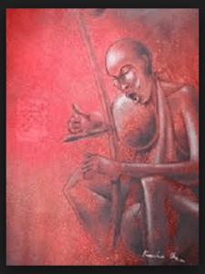 un joueur de mvett, par Kamba Sita.