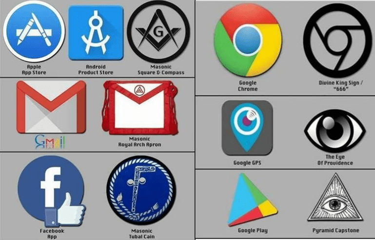 Logos sataniques Google, Facebook, Apple