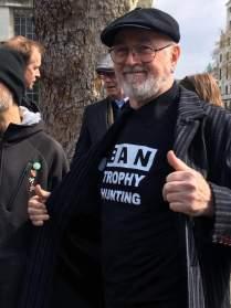 Peter Egan displays our slogan at London march