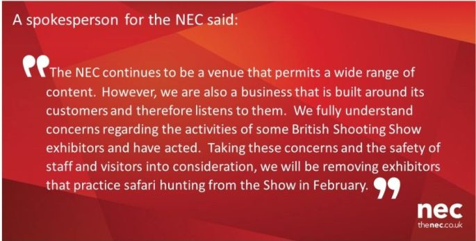 NEC Announcement, barring trophy hunt companies