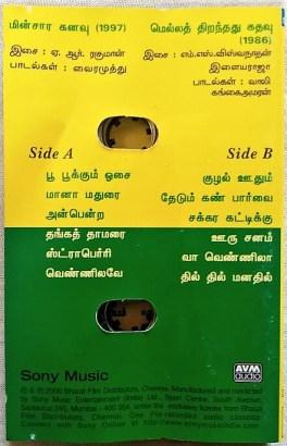 Minsara Kanavu – Mella Thirandhathu Kadhavu Tamil Audio Cassettes