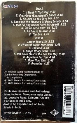 Backstreet Boys Greatest Hits Chapter One English Audio Cassettes