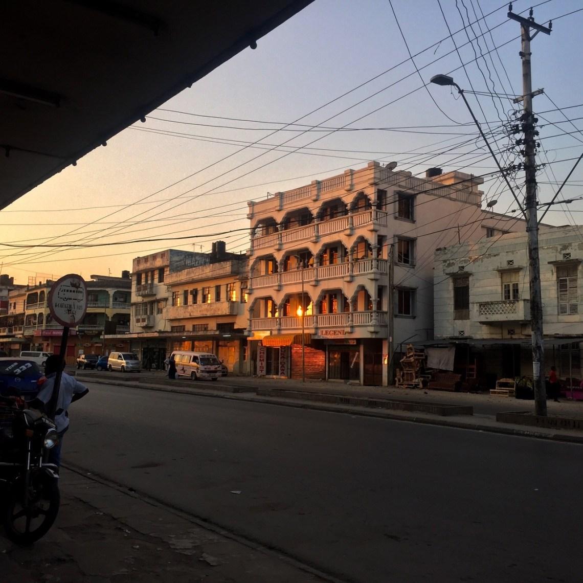 A view of Mombasa along Jomo Kenyatta Avenue at Sunset