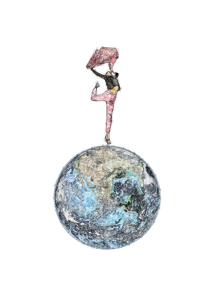 Kvinde, der danser på jorden | Kunstplakat - Kvinde, der danser på jorden | Kunstplakat - Digital print-selv-plakat