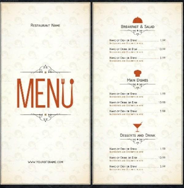 in menu nhà hàng tại hcm