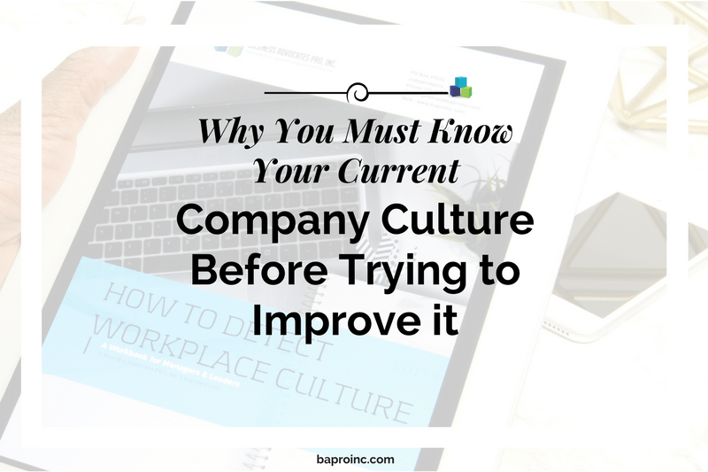 Why You Must Know Your Current Company Culture Before Trying to Improve It | BA PRO, Inc.