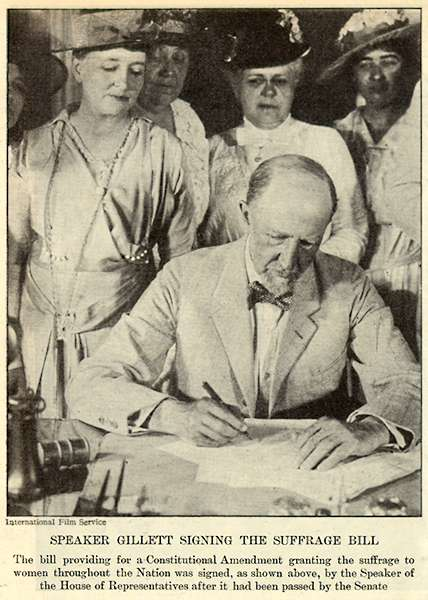 Republican Speaker of the House, Frederick H. Gillett, signs the bill in 1919