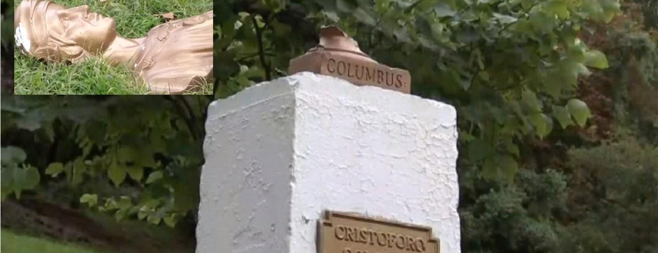Vandalizan busto de Cristóbal Colón