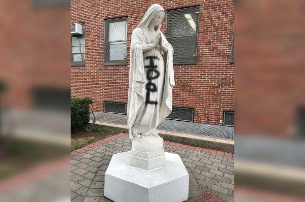 En Queens vandalizan efigie de la Virgen María
