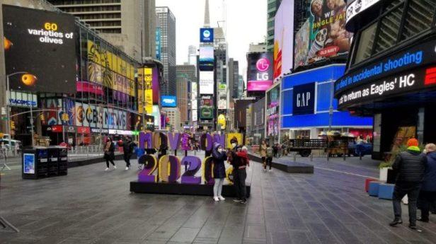Times Square horas antes llegada 2021