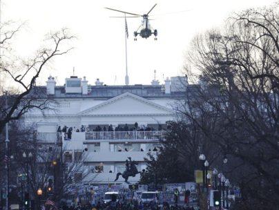Último vuelo de Trump sobre la Casa Blanca