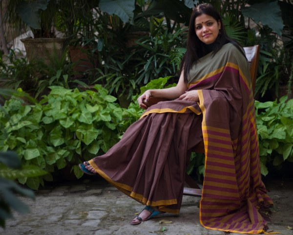 brown handloom cotton saree