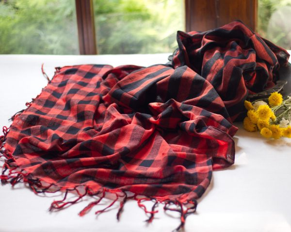 handloom red cotton dupatta