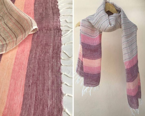 Handloom cotton scarf handmade handwoven linen in India