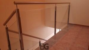 barandilla interior inox madera cristal