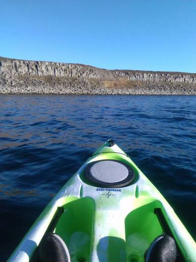 Kayaking in Thorshofn Iceland.