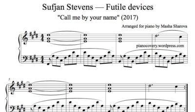 The music sheet of Futile devices from Call me by your name