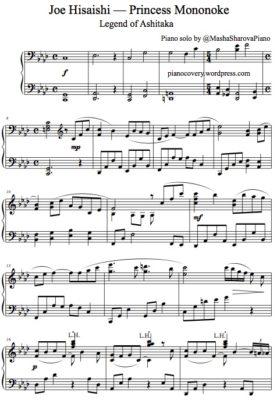 La partition de piano pdf Mononoke de Miyadzaki