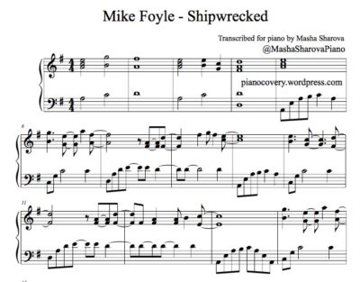 La partition pdf music sheet of Shipwrecked