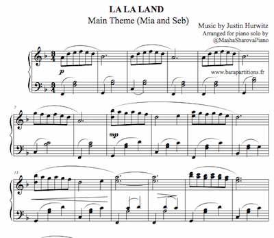 La partition de piano pdf La La Land musique principale