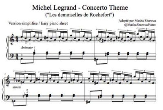 Partition pdf legrand concerto pour piano démoiselles de rochefort