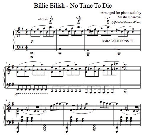 Partition de piano Mourir peut attendre de Billie Eilish