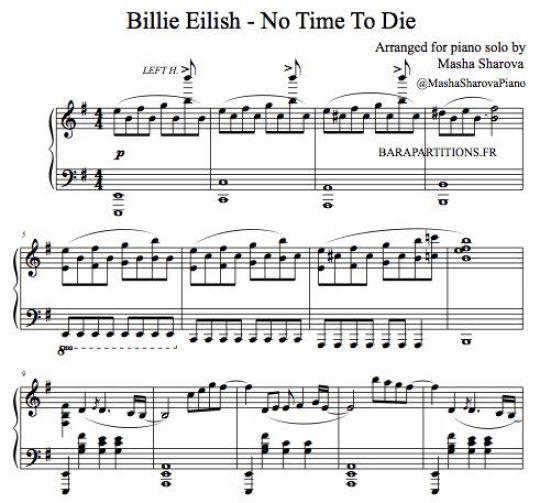 Partition de piano Mourir peut attendre de Billie Eilish
