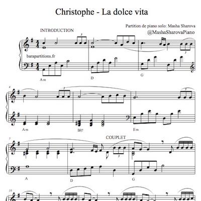 Partition piano solo de la chanson Dolce vita de Christophe