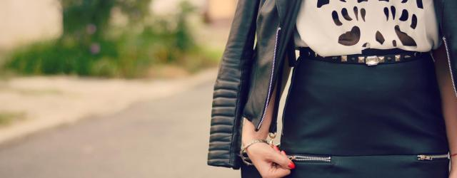 cutout top leather rock look
