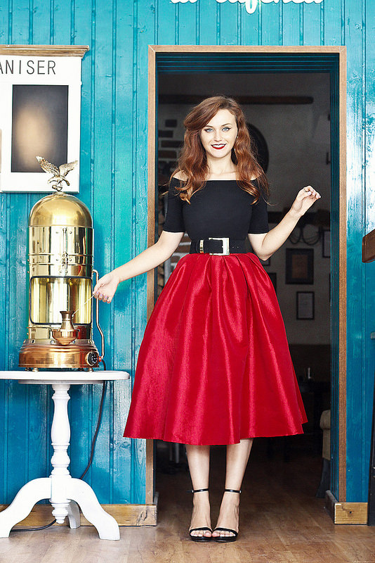 red midi skirt black heels