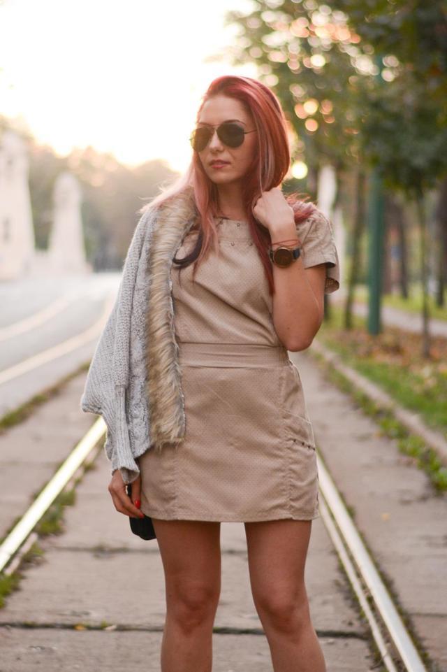 suede dress fur cardigan look