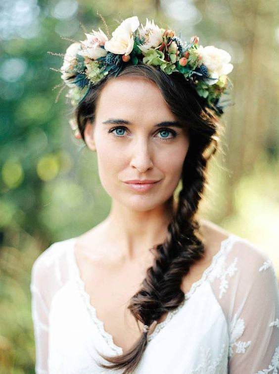 flower braid for brides