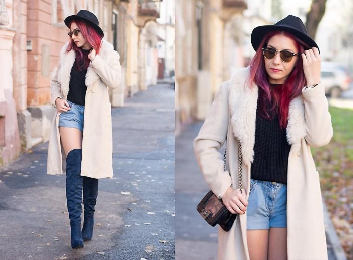 fur coat and black fedora