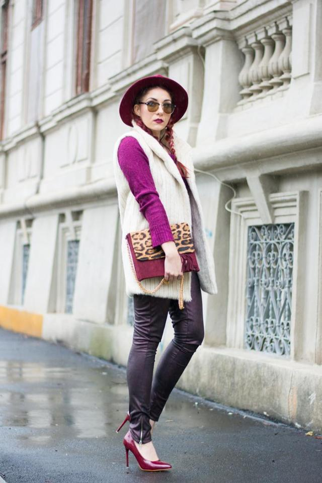 alpaca fur vest and leather pants