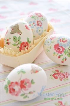 flower painted easter eggs