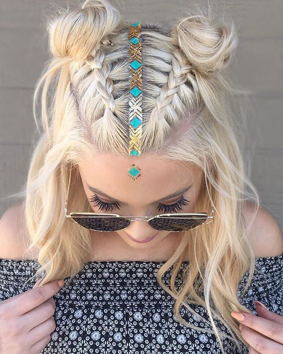 braided double bun braid