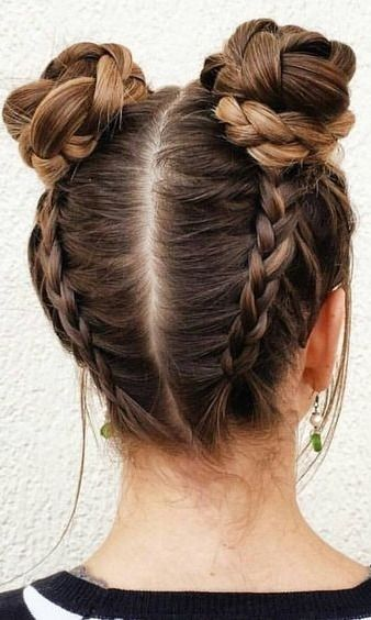 double bun for long hair
