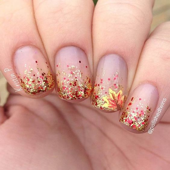 glittery nude autumn nails