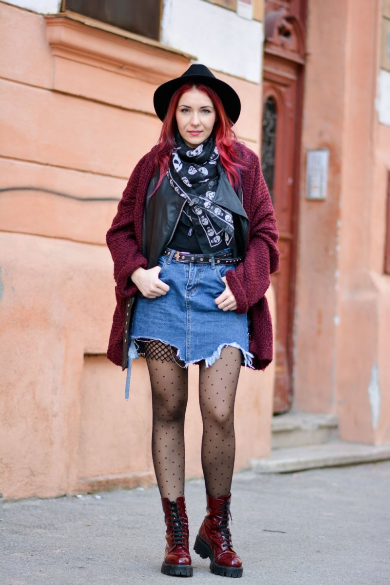 ripped jean skirt look