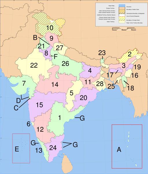 Mapo de Barato kun la    Gubernioj kaj la Asociaj teritorioj; bildo danke al  http://en.wikipedia.org/wiki/Image:India-states-numbered.svg