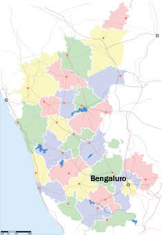 Mapo de Karnatako kun la ĉefurbo Bengaluro; bildo danke al http://en.wikipedia.org/wiki/Bangalore