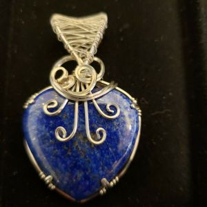 Lapis Lazuli Pendant, Wire Wrapped in 935 Sterling Silver