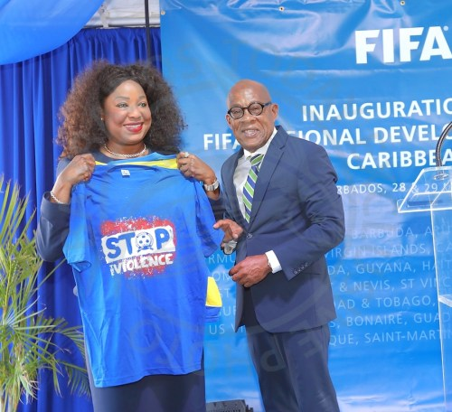 FIFA's first female secretary general Fatma Samoura with BFA and CFU president Randolph Harris during the official opening of the regional FIFA office in Barbados. (Pictures by Morissa Lindsay)