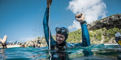 Alex Davis with a record-breaking smile after taking one of four records at Vertical Blue 2018 in the Bahamas.(GP)