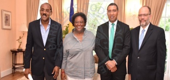 From left, Antigua and Barbuda prime minister Gaston Browne; Prime Minister Mia Mottley; Jamaica prime minister Andrew Holness and CARICOM Secretary General Irwin LaRocque.